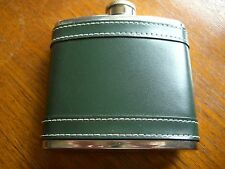 Hip Flask Stainless Steel Faux Green Leather 5 oz Pocket Drink Whisky Flask