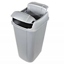 Trash Can Silver W/ Pivot Lid 13.3 Gallon Kitchen Garbage Storage Waste Bin Home