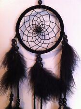 "Cherokee Handmade 20"" Dream Catcher Black Wood Beads, Black Feathers"