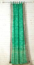 "84"" SEAFOAM Green and Gray SARI Curtain, Window Curtain,Bohemian printed glitter"