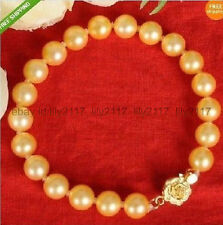 Real AAA 10-11MM NATURAL GOLDEN SOUTH SEA CULTURED PEARL BRACELET 7.5 INCHES