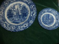 Liberty Blue England Ironstone Dinner Plate Fruit Bowl LOT of Two
