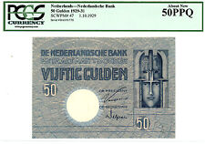 Netherlands … P-47 … 50 Gulden … 1929 … *AU* ... PCGS-50 PPQ