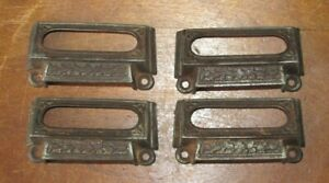 4 Matching Ornate Antique Victorian Cast Iron Bin Pulls With Label Slot