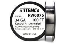 TEMCo Kanthal A1 wire 34 Gauge 100 Ft Resistance AWG A-1 ga