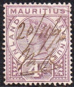 Mauritius 1896 - 1898 Queen Victoria Inland Revenue Purple 4c Fine QV USED Stamp