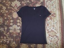 TOMMY HILFIGER WOMEN'S BLACK V NECK KNIT TOP SIZE MEDIUM