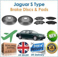 For Jaguar S Type 1999-2004  Two Front Brake Discs & Brake Pads Set New