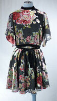 ZARA Black Floral Fit & Flare Devore Velvet Burnout  Dress Open Back size M