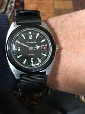 70's Marcel & Cie Working Vintage Diver Watch Manual Winding Red Date