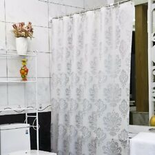 PEVA Damask  White Silver Shower Curtain 180x180cm +12 Hooks