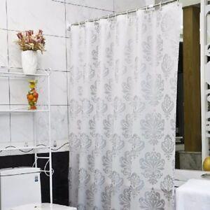 PEVA Damask  White Silver Shower Curtain 180x180cm +12 Hooks