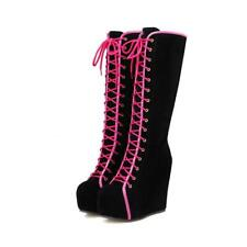 Ladies Punk Gothic Combat Knee High Boots Wedge Heels Platform Shoes Size 2.5-7