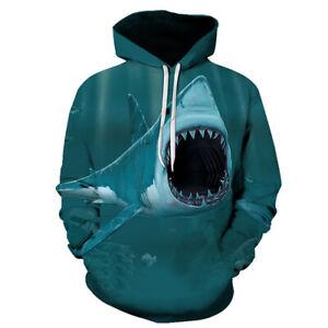 Women Men 3D Print Hoodies Pullover Sweatshirts Funny Fierce Shark Sea-World