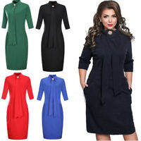 Half Sleeve Women Dress Stand Collar Work Dresses 2018 Autumn Midi Pencil Dress