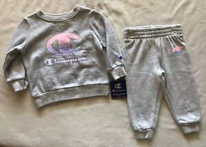 CHAMPION ATHLETICWEAR Baby Girls's Fleece Crew and Joggers, 2-Piece Set