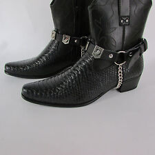 N Biker Men Western Boot Silver Chain Pair Leather Straps POW MIA NOT FORGOTTEN