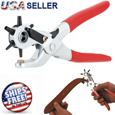"9"" Leather Hole Punch Heavy Duty Hand Pliers Belt Holes 6 Sized Puncher Tool New"