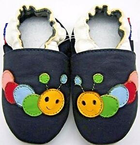 Minishoezoo caterpillar navy 0-6m Newborn baby soft sole crib shoes leather
