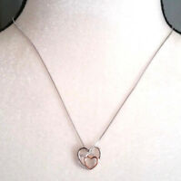 Necklace Intertwined Hearts Sterling Sliver on 16-18 inch box chain Mothers day