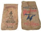 Two Burlap Pinto Beans Potatoe Bags 34-39 L