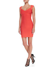 """NWT Authentic Herve Leger """"SARAI"""" Size S Coral Red Halter Bandage Dress - $1,050"""