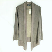 *NWT* CHICO'S TRAVELERS Jacket Size 1 Lurex Stripe Renwick Taupe $99 Open Front