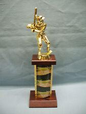 male Baseball trophy theme column cherry finish wood base