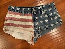 New listing Bullhead PacSun High Rise Shorts Flag Red White Blue Stars Fray Size 3 July 4th