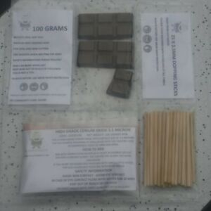 OFM DOPPING LAPIDARY STARTER KIT CERIUM OXIDE DOP WAX & 25 STICKS 4 CABBING CABS
