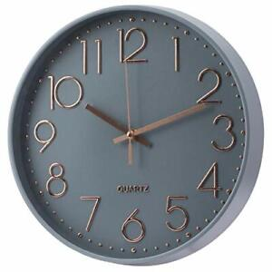 Battery Wall Clock Quartz Home Office Room Large 12 Inch Non-Ticking and Silent