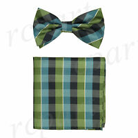 New Men's micro fiber Pre-tied Bow tie_hankie green blue plaids checkers formal