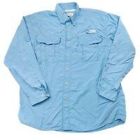 Magellan Sportswear Button Up Shirt Mens Large Blue Vented Long Sleeve Outdoors