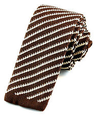 "Manzini Striped Knit Mens Necktie Skinny 2 1/8"" Fashion Knitted Brown Neck Tie"