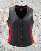 Women's Biker Classic Genuine Leather Motorcycle Vest