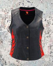 Womens Biker Classic Genuine Leather Motorcycle Vest