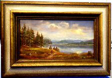A.Brandmeier,Ölbild,klein,alpenländische Landschaft mit See,gerahmt