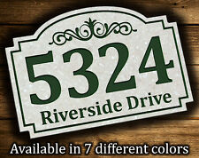"""Address Plaque 9.5""""x14"""" Scroll Patern Outdoor House Number Street Address Sign"""
