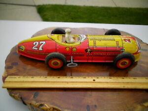 Vintage 1950s Wind Up Marx Indy Toy Race Car Tin Litho #27 Streamlined Works!