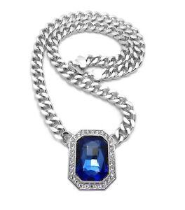 "Iced Multi Color Gemstone Pendant & 9mm 18"" Cuban Choker Chain Hip Hop Necklace"