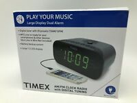 Timex T231GY AM/FM Dual Alarm Clock Radio with 1.2-Inch Red Display and Line-In