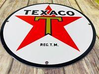 "VINTAGE TEXACO GASOLINE STAR ⭐️ & GREEN T 11 3/4"" PORCELAIN METAL GAS & OIL SIGN"