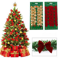 12 Pcs Colorful Glitter Bow Christmas Tree Garden Fence Party Decorations HOT