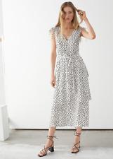 And Other Stories Belted V-Neck Polka Dot Midi Dress ~ Size 2