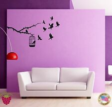 Wall Sticker Birds Branch Cage Cool Decor for Bedroom z1429