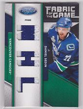 2011 11-12 Certified Fabric of the Game NHL Die Cut Prime #143 Daniel Sedin 6/10