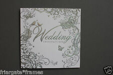 Wedding Day Invitations Pack of 18 Silver Embossed Love Birds Design