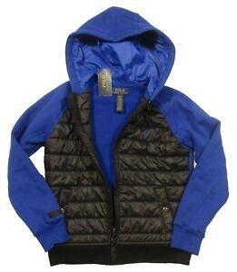 Polo Ralph Lauren Boys Polo Black/Blue Raglan Hybrid Puffer Full Zip Jacket