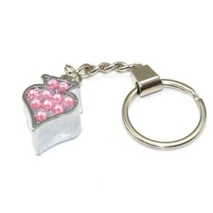 Chrome Spade Pink Diamond Key Chain - w/ring for house home car truck bike keys