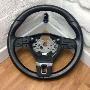 Genuine VW black leather 3 spoke steering wheel for T5.1 Transporter.        B1